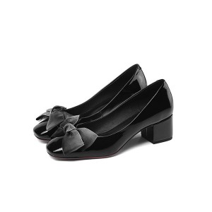 England Style Ladies Black Low-Heel Big Sole Shoes
