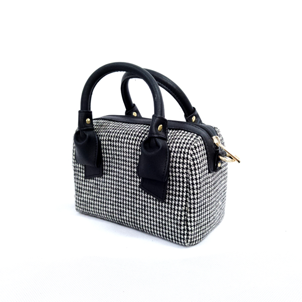 New chic retro mobile handbag plaid woolen bag versatile shoulder slung small square bag