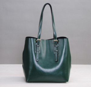 Custom made green leather Shopping Bag Fashion Ladies Bag