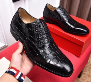Newsest Men Italian Dress Shoes Mens Famous Brand Crocodile Designer Shoes Black