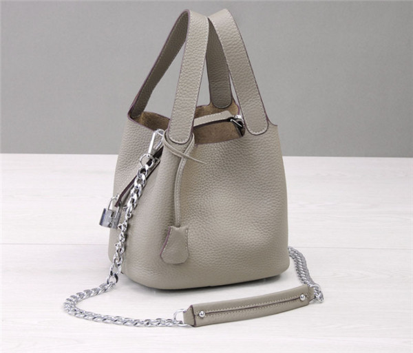 Smoke Gray Women Shoulder Bags Natural Leather Mini Bucket Bag