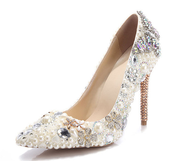 Beige Rhinestone Diamond Designer Shoes Women