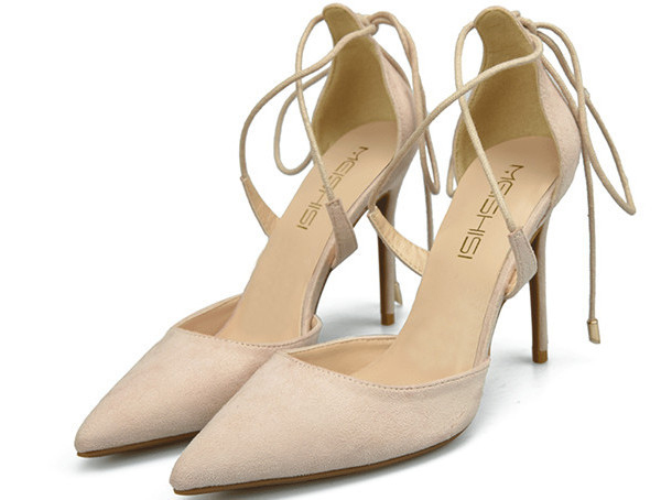 Beige Suede Pointed Shoes Pumps Sandals With Ankle Bandage Featured Image