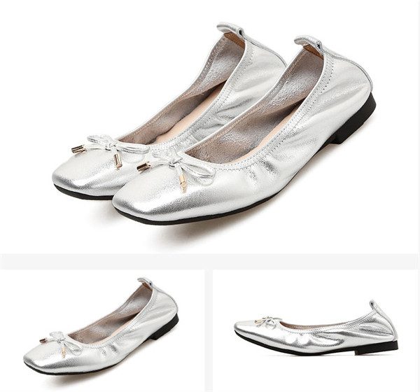 Lady Silver Square Toe Shoes Foldable Ballet Shoes With Toe Bow