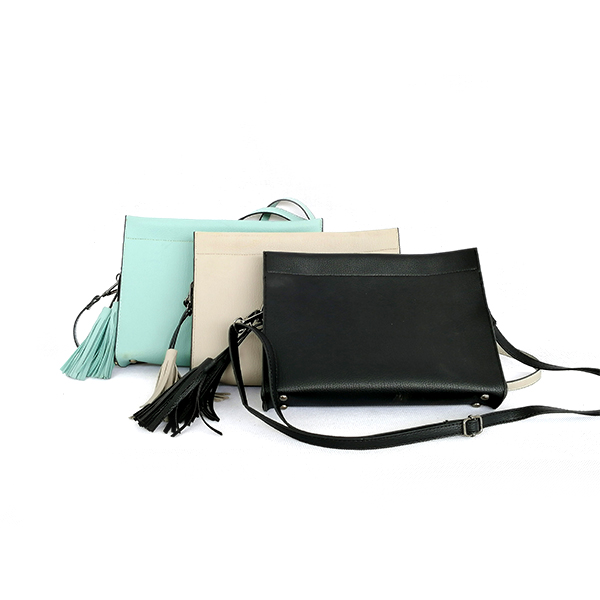Factory Wholesale New Trend High-end Elegant Fashion Green Black Lady Tassels Single-shoulder Zipper Bag