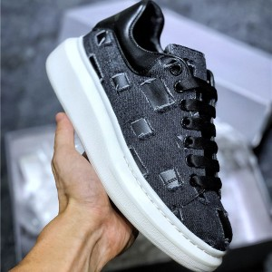 First Comfortable Genuine Leather Sneakers Shoes With Denim Upper