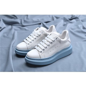 Women Blue Sheepskin Upper Sneakers Shoes With White Outsole