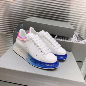 Four-season Unisex Sneakers Made of Italian Leather with Blue transparent sole