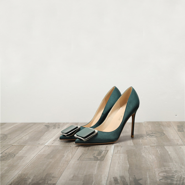 Green Silk Satin Ladies high heels