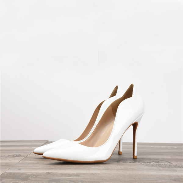 White Patent Leather Fashion High Heel Shoes Women'S Party Heels