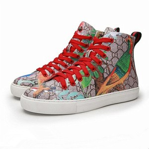 High-Grade Flower And Bird Printed PVC Fabric Couple Ankle Trainers With Red Shoeslace