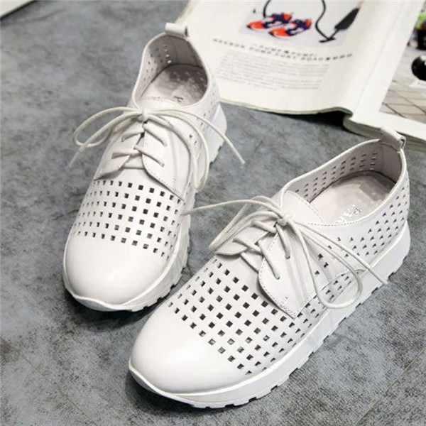 Ladies White Punching Leather Sports Sneakers Summer Featured Image