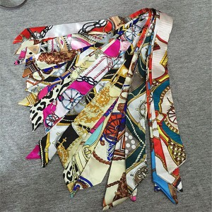 fashion small silk scarf for bag handle fashion silk scarf satin aceesory for bags bag decorations silk accessory bag accessory factory