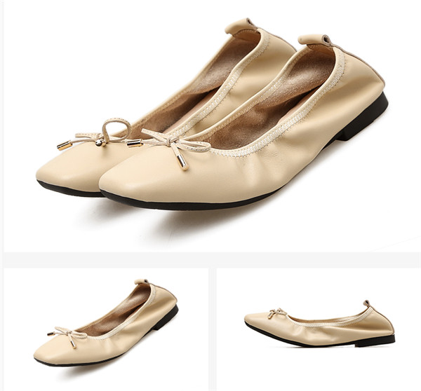 OEM Beige Sheepskin Square Toe Shoes Foldable Ballet Shoes With Toe Flower