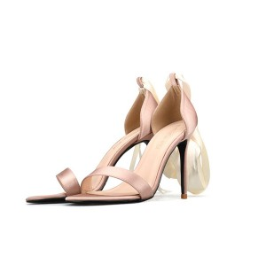 Ladies Nude Silk Satin Sandals With Silk Ankle Strap