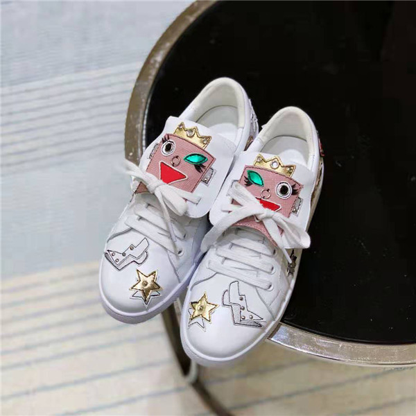 Custom Made Famous Women Lace-Up Sneakers White Cowhide Sneakers