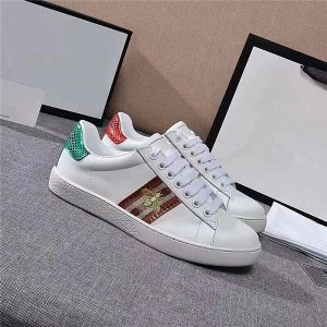 Bee Embroidery White Genuine Leather Lace Up Sports Shoes