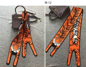 Fashion Small Tiger Leopard Printing Silk Scarf For Bag Handle