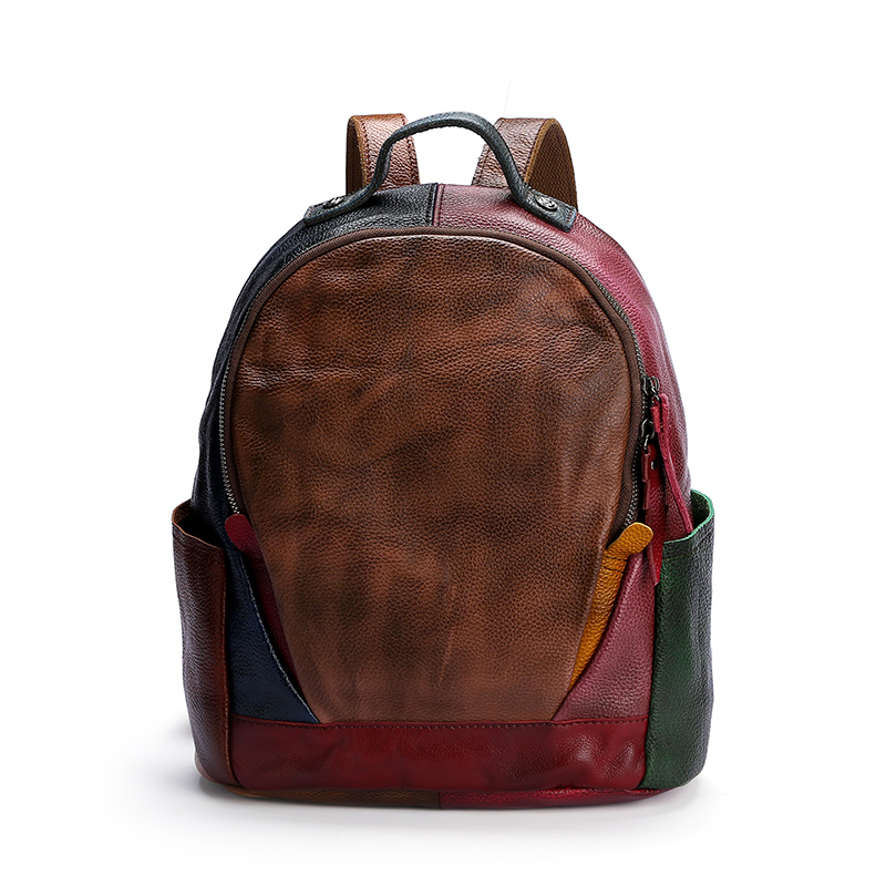 Colorful Leather Backpack for lady,  OEM Bag, Top Grain Leather Backpack