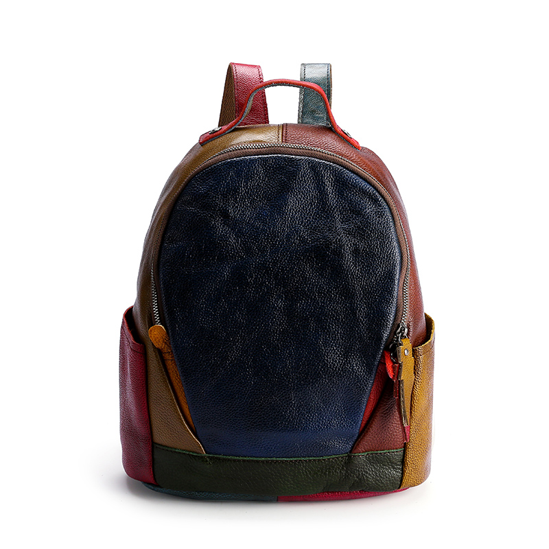 Colorful Matched Leather Backpack. Genuine Leather Backpack.