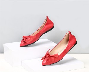 Custom Women Shoes Lady Red Leather Pointed Flat Shoes With Bow Flower
