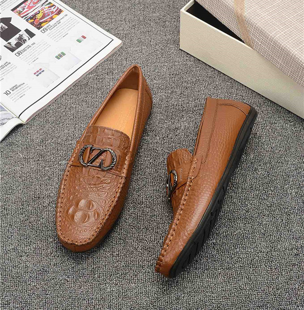 OEM Italian Tan Leather Designer Shoes Alligator Cowhide Slip-On Men Loafers With Buckle