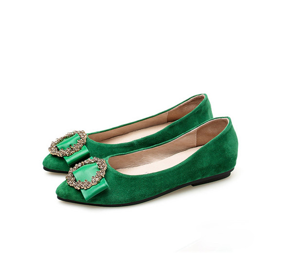 OEM Lady Green Suede Shoes Pretty Women Flat Stylish Shoes