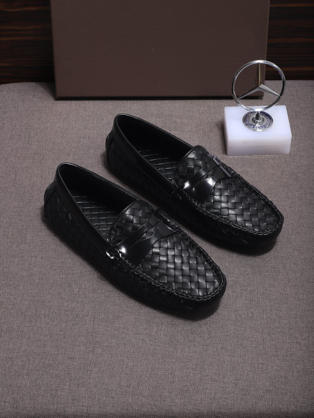Custom Made Italian Leisure Shoes Black Woven Nappa Leather Loafers Size 38 To 46