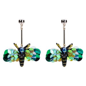 Wholesale Europe And The United States Fashion Women Plastic Sequins Earrings Green Dragonfly Earrings