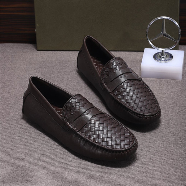 Custom Made Nappa Leather Shoes Coffee Braid Sheepskin Flat Casual Shoes