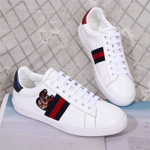 White Cow Leather Dog Embroidery Sneakers Shoes For Man