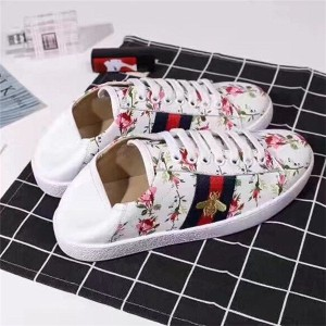 Most Popular White Leather Step-On Shoes For Couples With Bee Flower Embroidery