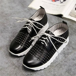 Ladies White Punching Leather Sports Sneakers Summer