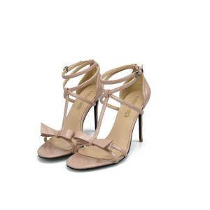 Women Nude Leather Sandals With Ankle Strap