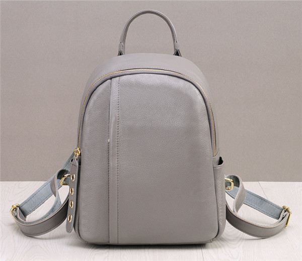 Very Popular Fashion Ladies Grey Cowskin Leather Backpacks For Young Girls Backpacks Factory