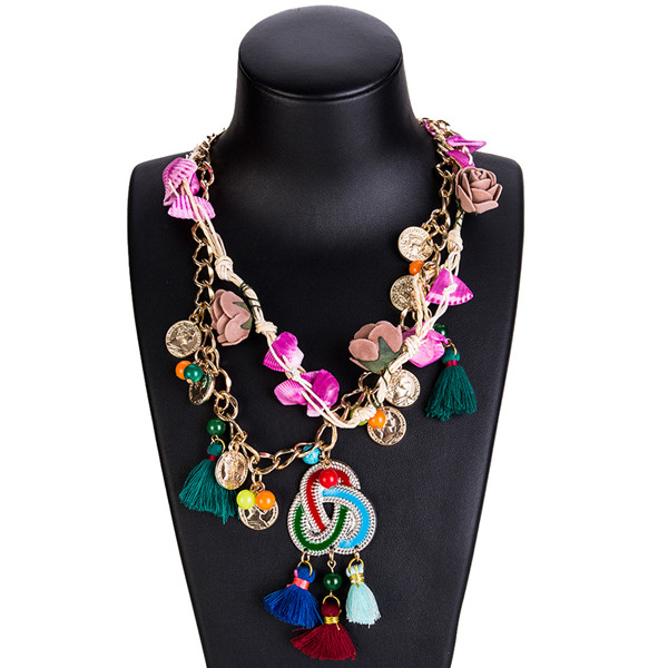 Clavicle Chain Necklace Multi-Layer Woven Necklace Flower Coin Sweater Chain Neckwear Supplier