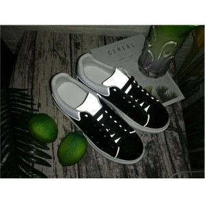 Black Genuine Leather Couple Sneakers With Luminous