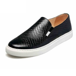 Black Snake Grain Cowhide Loafers For Man