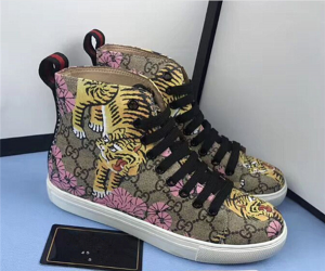High-Grade Bengal Tiger Printing PVC Fabric Ankle Lace-Up Sports Sneakers Factory