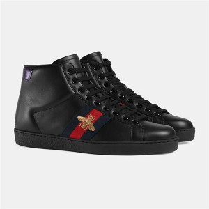 Bee Embroidery Black Cowhide Lace-Up Ankle Men Sneakers Boots