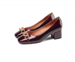 Women 5cm Middle-Heeled Slip On Shoes Wine Red Patent Leather Stylish Shoes With Rhinestones Buckle