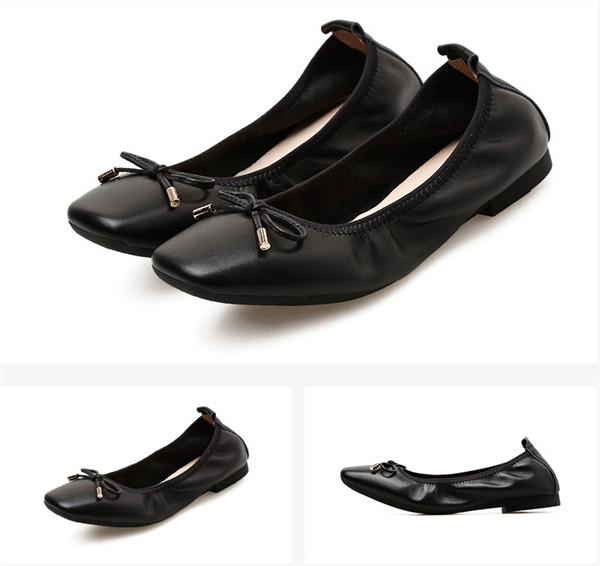 OEM Women Black Calfskin Square Toe Shoes Foldable Ballet Shoes