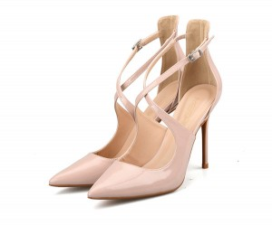 Nude Patent Leather Ankle Bandage Sandals Women Sexy Sandals
