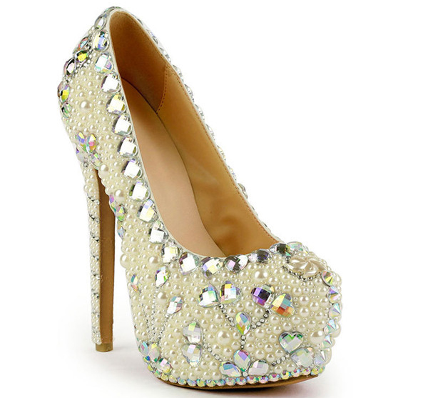 16cm Super High Heel  Colorful Sequin Pearl Crystal Diamond Platform Shoes