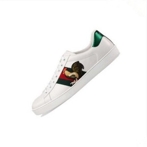 White Genuine Leather Lace Up  Rooster Embroidery Sneakers For Couple