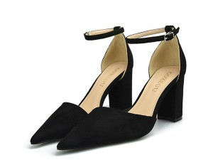 Black Suede Lady Stylish Sandals Shoes With Ankle Strap