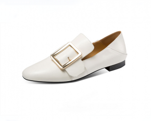 Ladies White Leather Trendy Shoes With Buckle