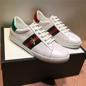 White Real Leather Bee Embroidery Casual Shoes For Couples With Black-Red Strpe