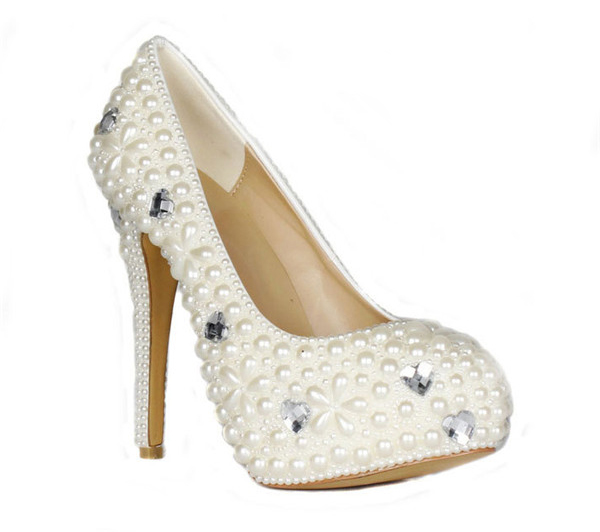 14cm High Heel White Sequin Crystal Women Luxury Shoes