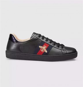 Black Cow Hide Sports Sneakers Shoes With Bee Embroidery